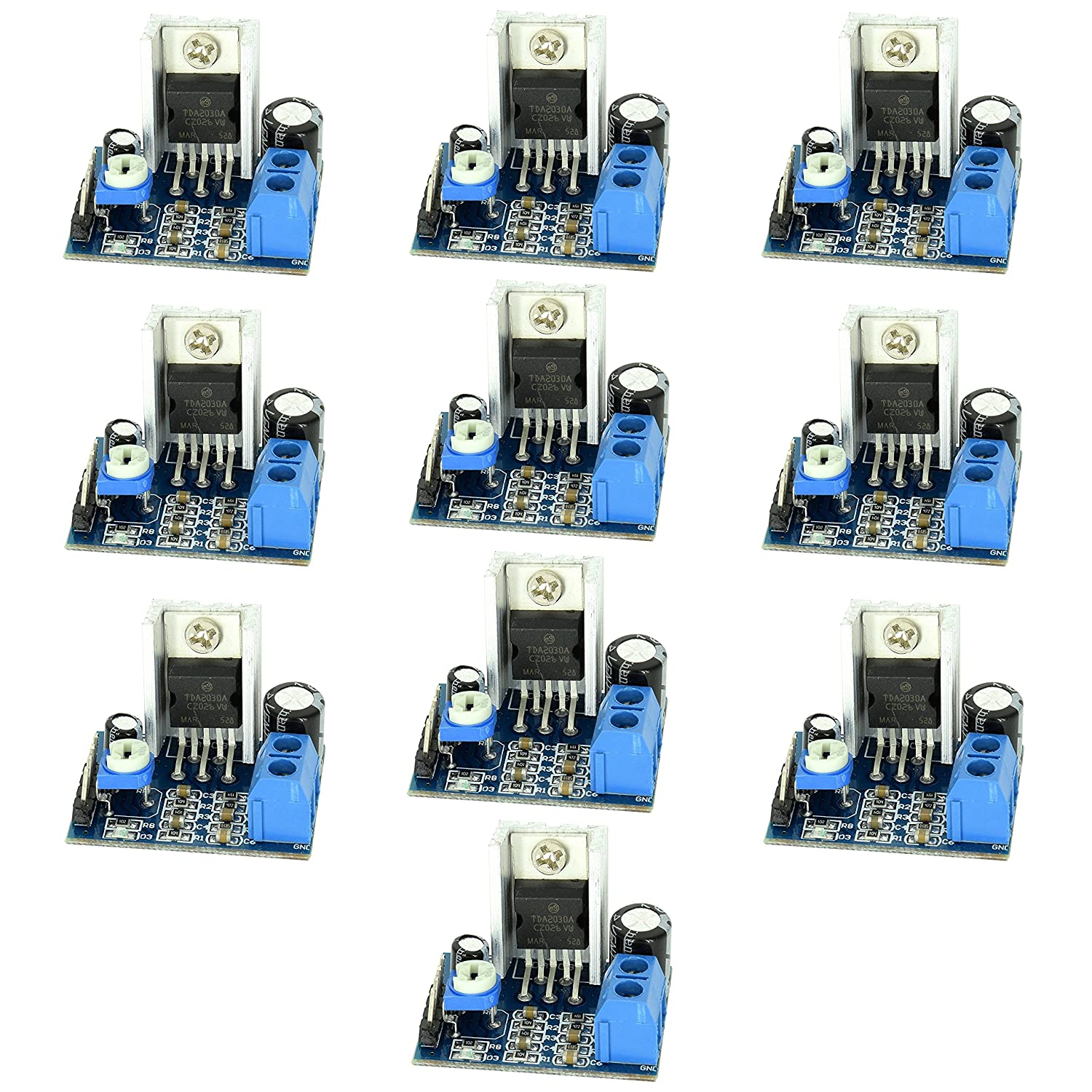 amazon com: optimus electric 10pcs tda2030 chip audio amplifier module  board with 18w output, 10k potentiometer volume adjustment and power  indicator from: