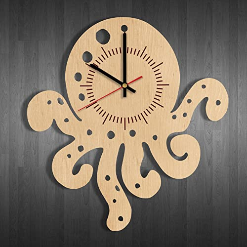 Amazon.com: Little Octopus Wooden Wall Clock Made – Perfect gift and ...