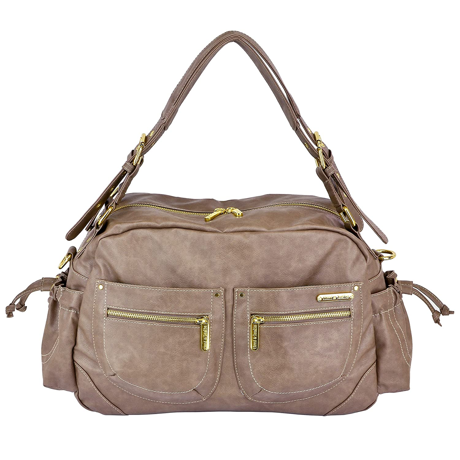 Amazon.com : Timi & Leslie Jessica 7-piece Diaper Bag Set, Taupe ... Beige Und Grn