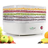 NutriChef Electric Food Dehydrator Beef Jerkey Dried Fruit Maker Dehydrators | Compact Design | White (PKFD06)