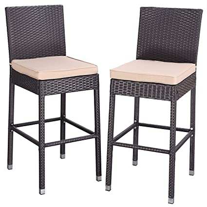 Magnificent Amazon Com Do4U Set Of 2 Patio Bar Stools All Weather Unemploymentrelief Wooden Chair Designs For Living Room Unemploymentrelieforg