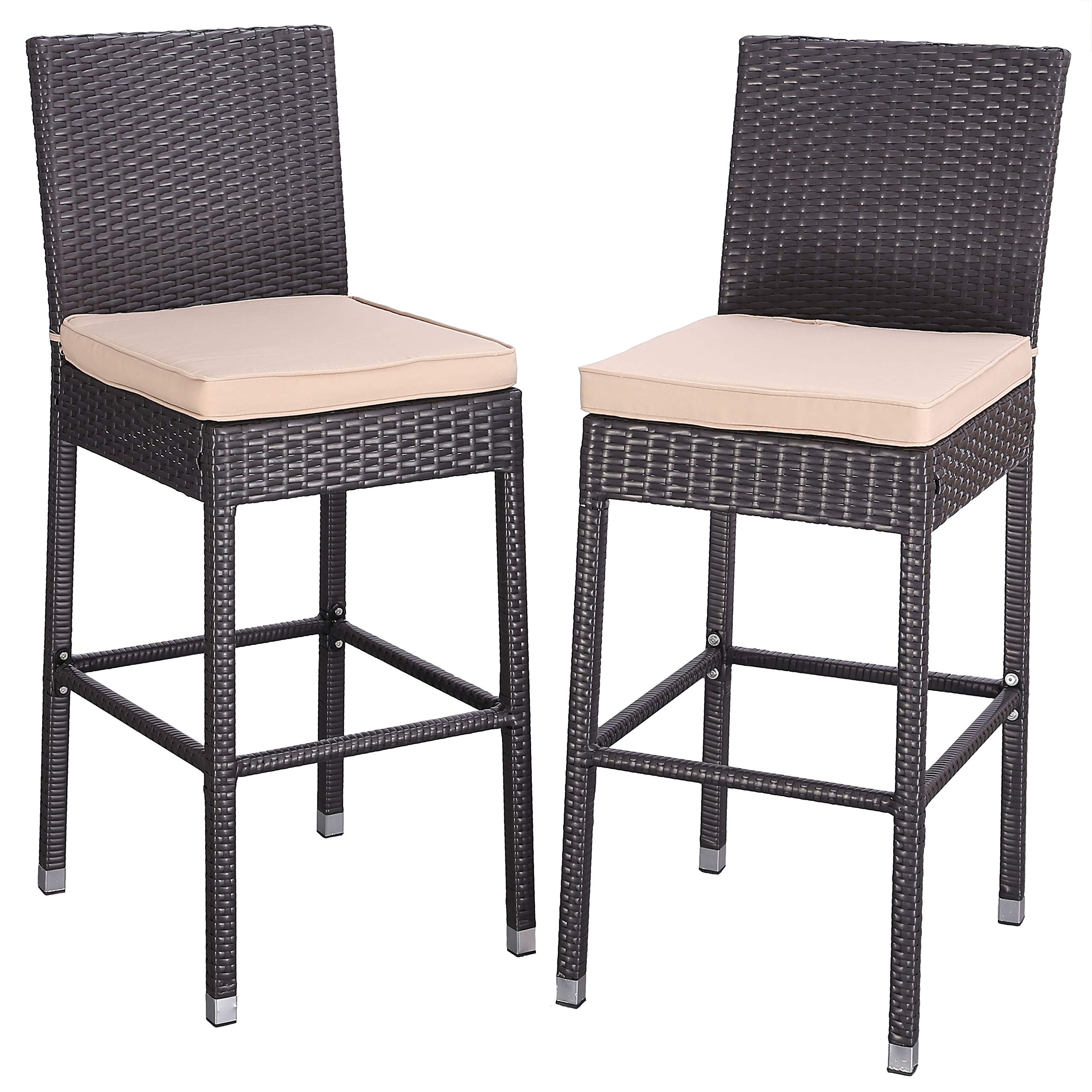 Do4U Set of 2 Patio Bar Stools All-Weather Wicker Outdoor Furniture Chair, Bar Chairs with Brown Cushions & Footrest | Garden Pool Lawn Backyard | Steel Frame| Barstools (668-EXP-BRN)