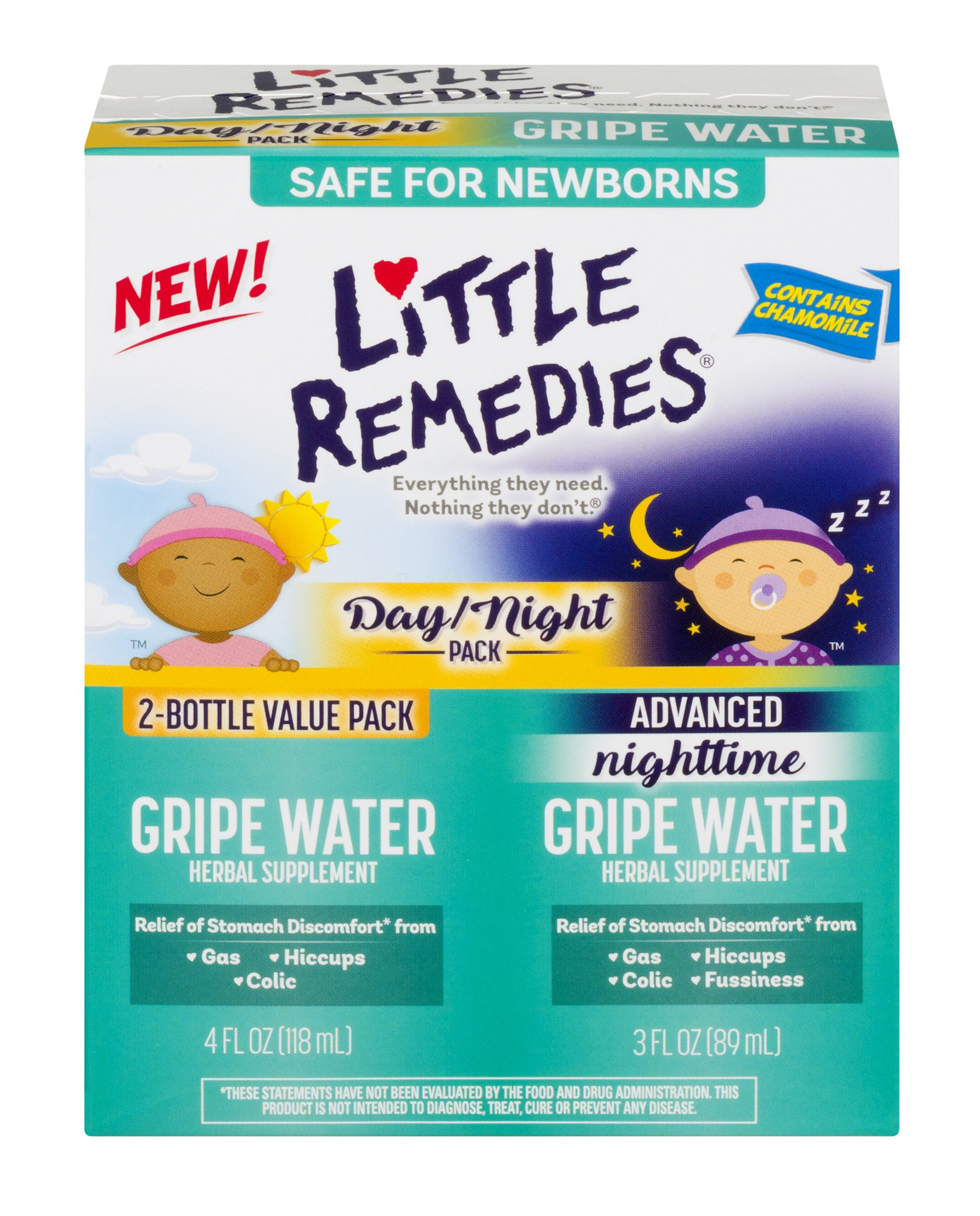 Little Remedies Day & Night Gripe Water Value Pack | Herbal Supplement | 2 Bottles | Gently Relieves Stomach Discomfort from Gas, Colic, and Hiccups | Safe for Newborns by Little Remedies (Image #1)