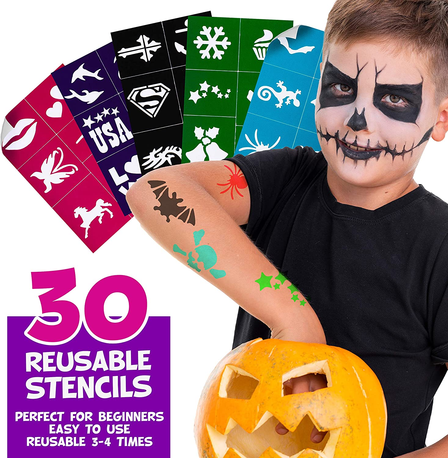 Face Paint Kit For Kids With Stencils