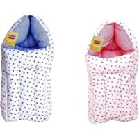 Fareto Gift Pack Combo of 2 New Born Baby Sleeping Bag Cum Carry Bag(0-6Months,Pink & Blue)