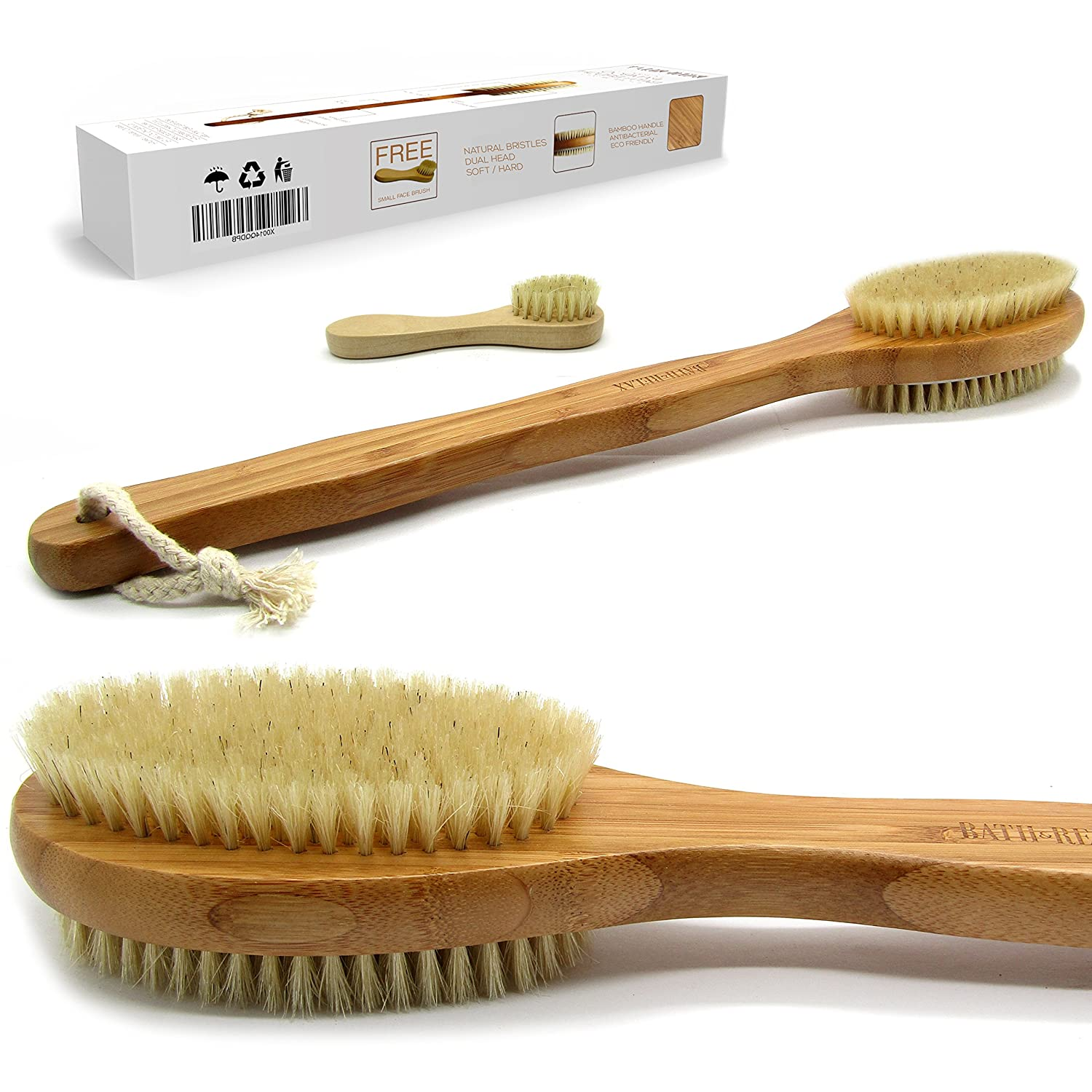 Bath & Relax Bamboo Bath Brush Long 17 Handle Back Body Scrubber For shower dry/Wet Skin brushing Suitable for men/women
