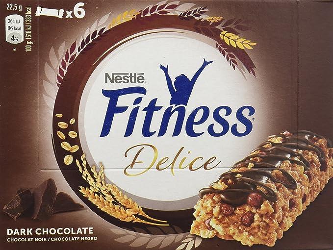 Cereales Nestlé Barritas Fitness Delice chocolate negro, 6 cajas de 6 barritas - Total: