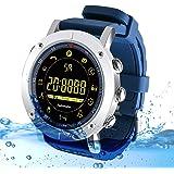 Kingkok Bluetooth Outdoor Smart Sports Watch with Steps Counter Calories Stopwatch Phone Reminder Waterproof Digital Smartwatch [Blue]