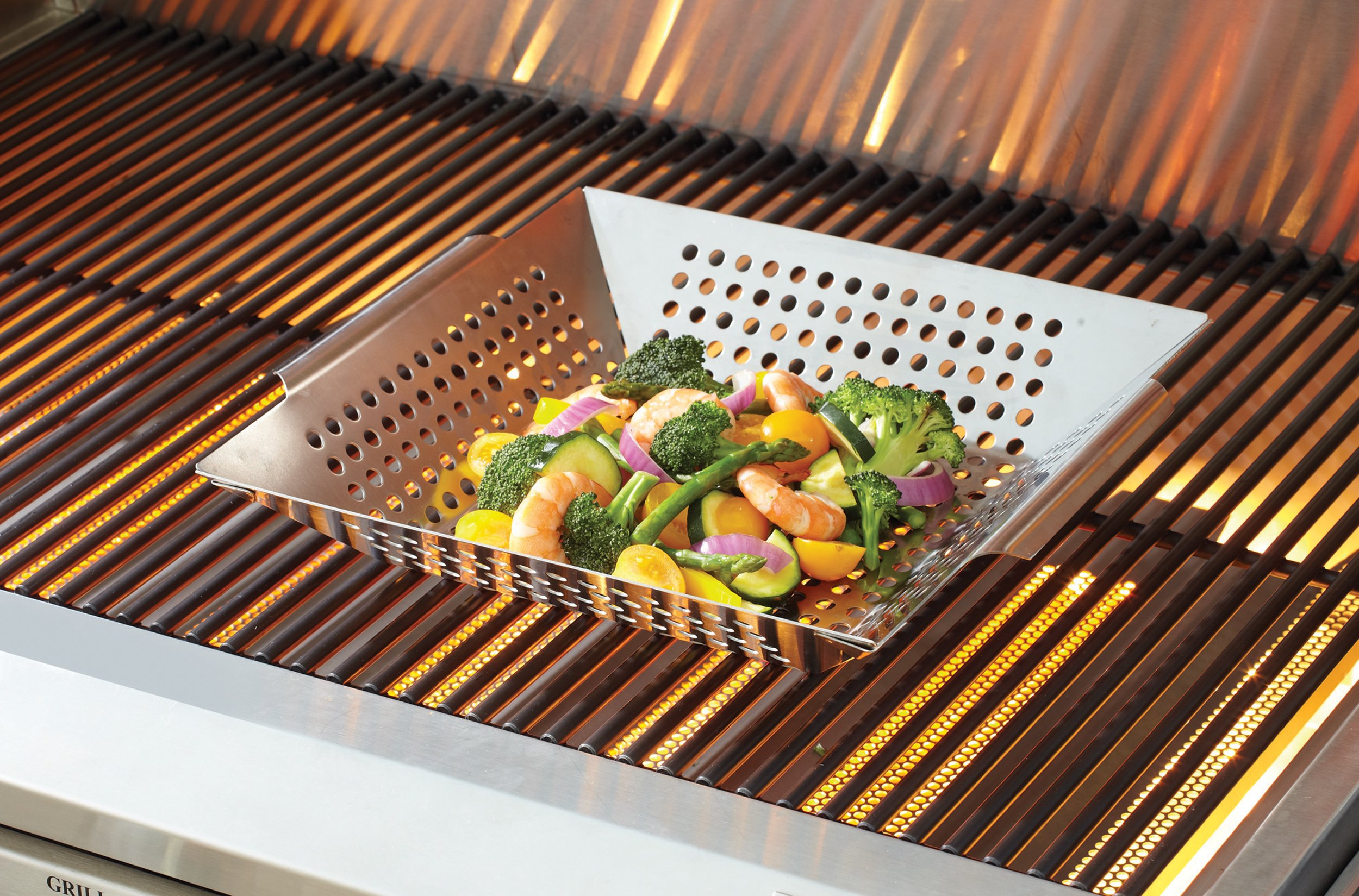 Mr. Bar-B-Q Platinum Prestige Stainless Steel Vegetable Grill Basket - Perfect for Cooking Crispy Vegetables, Fish, and Meats on the Grill or BBQ - Built in Handles - Great for Cookouts and Camping
