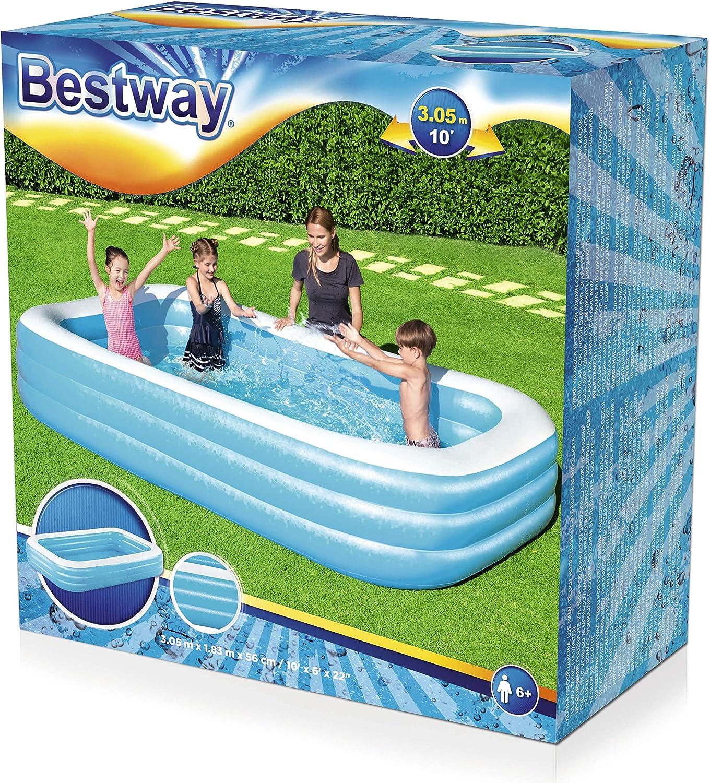 Bestway 54009 - Piscina Hinchable Infantil Rectangular 305x183x56 cm: Amazon.es: Juguetes y juegos