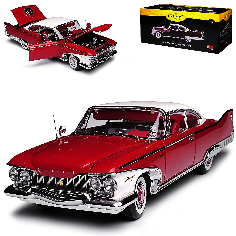 Sun Star Plymouth Fury Coupe Hard Top Dunkel Rot 1960 1 18 Modell Auto mit individiuellem Wunschkennzeichen  Mit Wunschkennzeichen