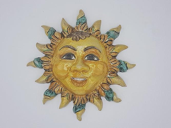 Sole in ceramica da appendere medaglione in ceramica le