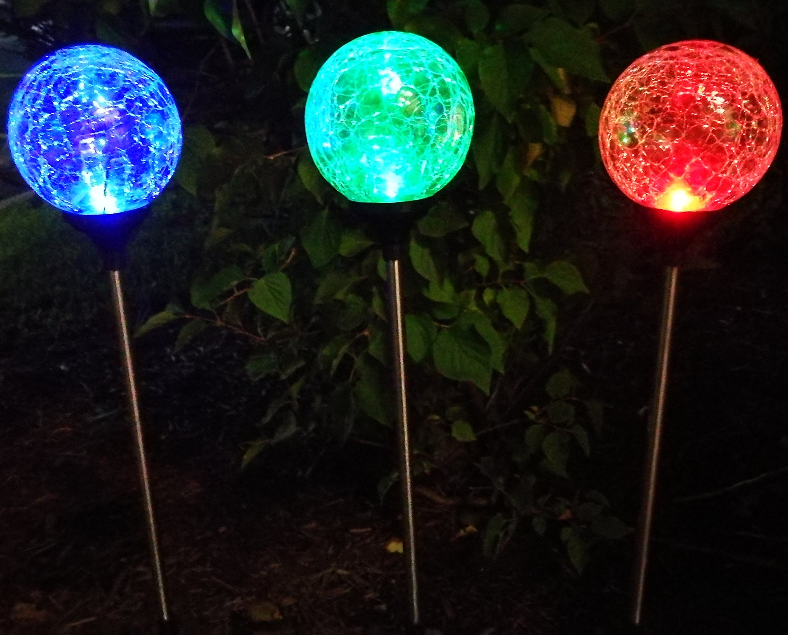 sogrand 3pcs pack 3color solar lights outdoor crackle glass globe solar ebay. Black Bedroom Furniture Sets. Home Design Ideas