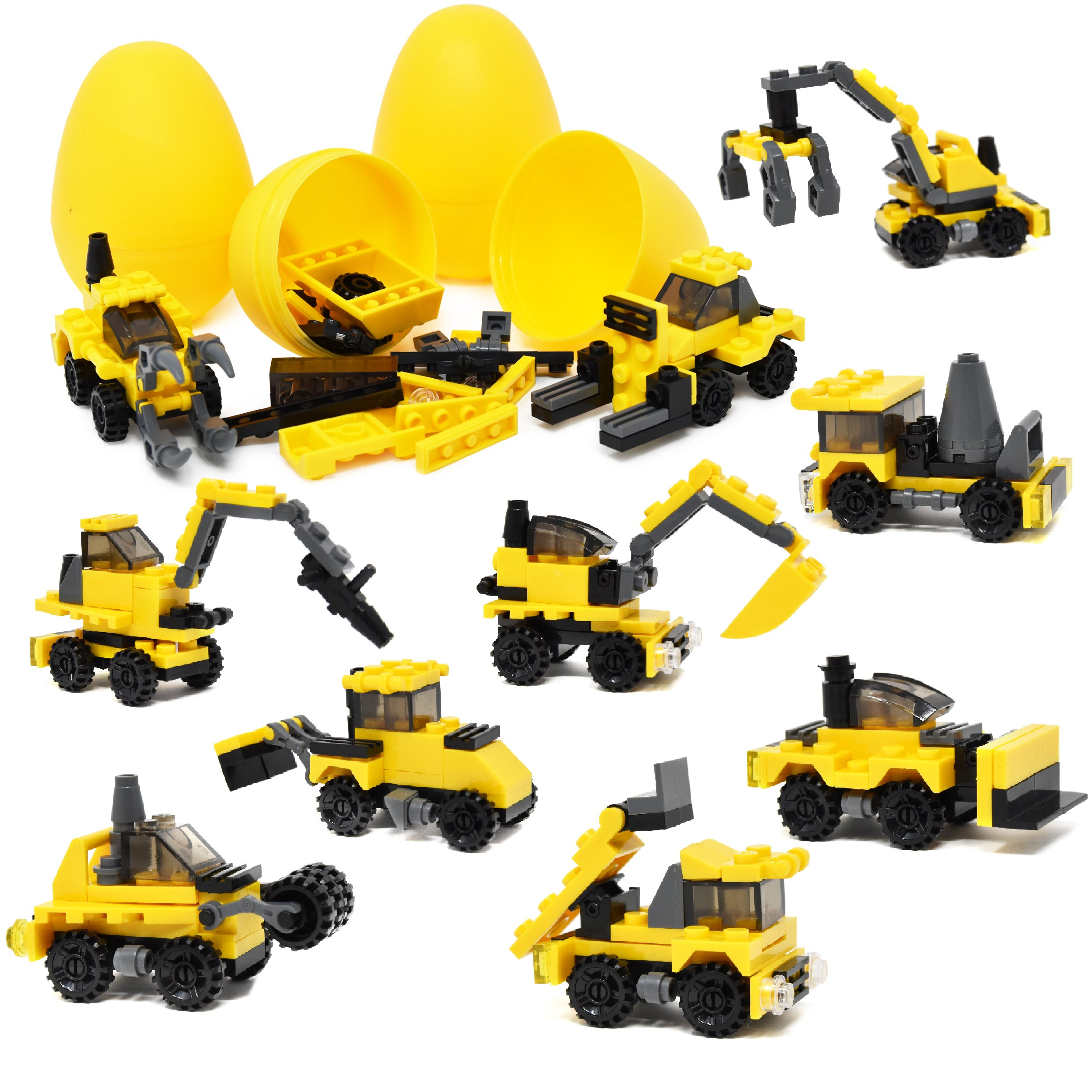 Gift Boutique 12 Filled Easter Eggs with Surprise Building Block Toys Inside Prefilled Egg for Kids to Build Different Kinds of Construction Vehicles Plastic 3'' Easter Basket Stuffers