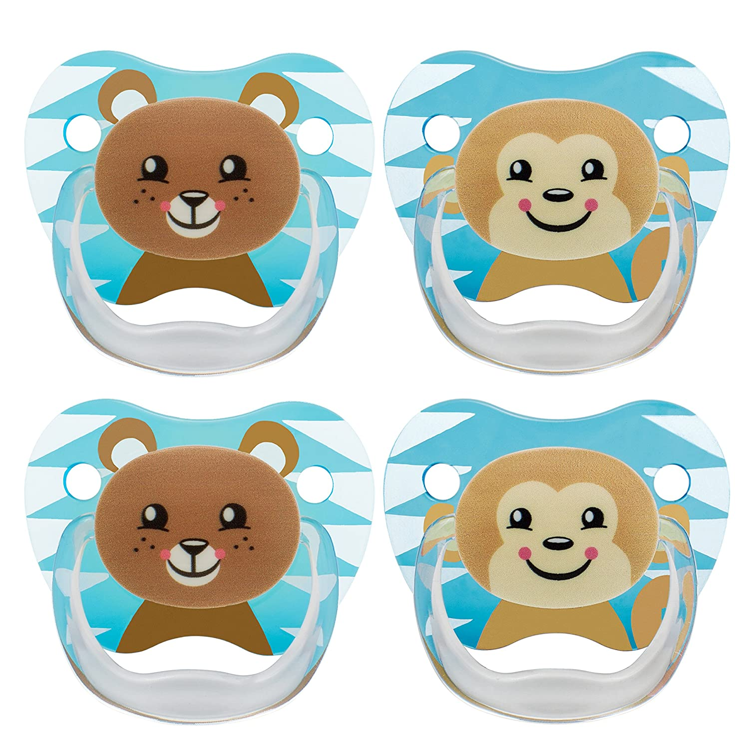Dr. Browns Classic Pacifier, 0-6m, Animal Faces Blue, 4 Count