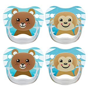 Dr. Brown's Classic Pacifier, 6-12m, Animal Faces Blue, 4 Count