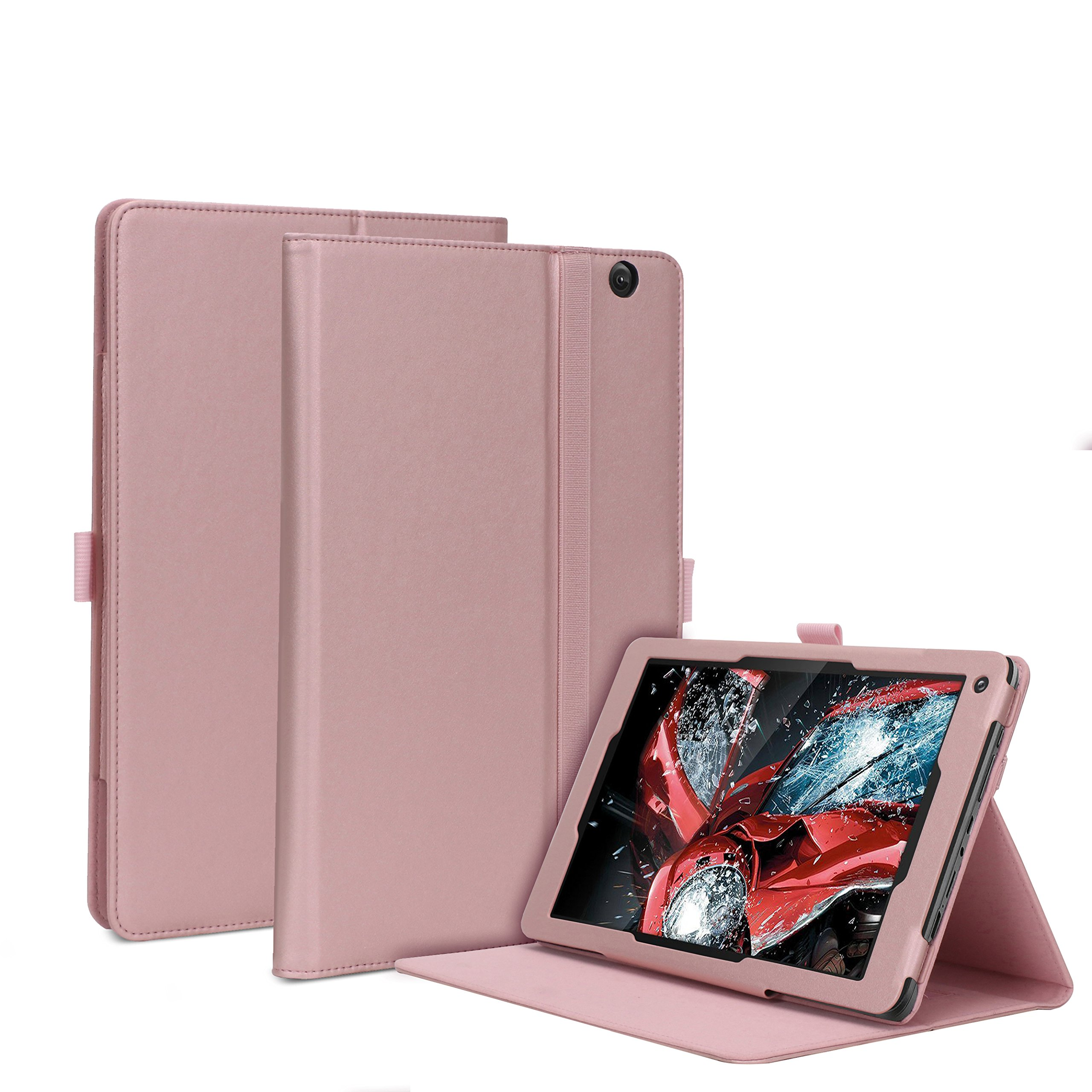 Dragon Touch V10 Case, Premium PU Leather Folio Stand Cover with Velcro Hand Strap for Dragon Touch V10 10-Inch Android Tablet (Rose gold)