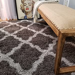 Shag Area Rug, New Moroccan Trellis Charcoal Gray, Everyday Use, 5' x 7' (60 inch x 84 inch)