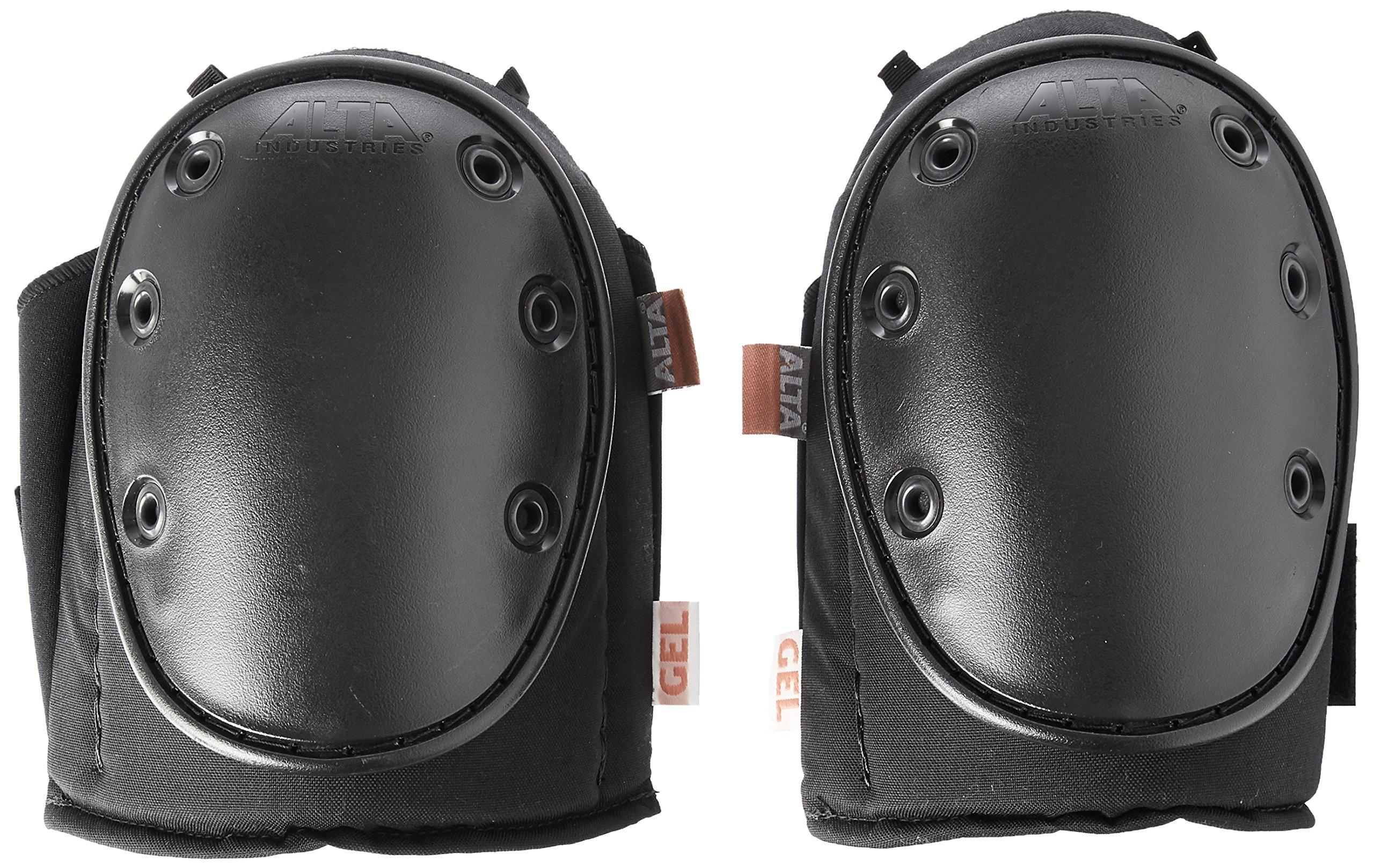 ALTA 56200 AltaGUARD GEL Insert Knee Protector Pads, Black Cordura Nylon Fabric, Neoprene Grip, Hard Cap, Long, Black