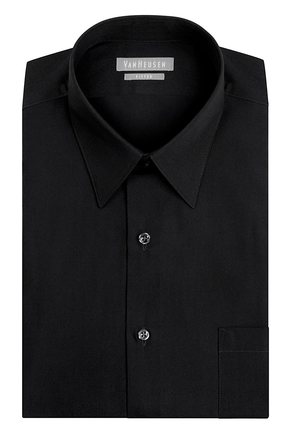 Van Heusen Men's Poplin Fitted Solid Point Collar Dress Shirt at ...