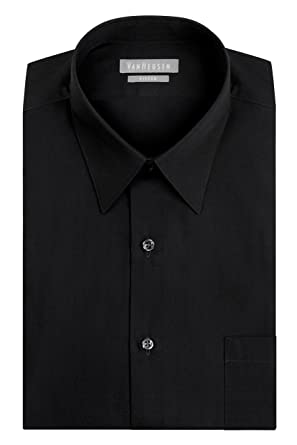 "172c8ad2 Van Heusen Men's Poplin Fitted Solid Point Collar Dress Shirt, Black,  14.5"" Neck"