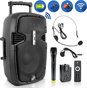 "Wireless Portable PA Speaker System - Compatible with Bluetooth, Active Loudspeaker, 1000 Watt Powered 2-Way Waterproof Amplifier, 12"" Subwoofer, Tweeter, RCA, XLR, Mic In for Dj & Party - PPHP1241WMU"