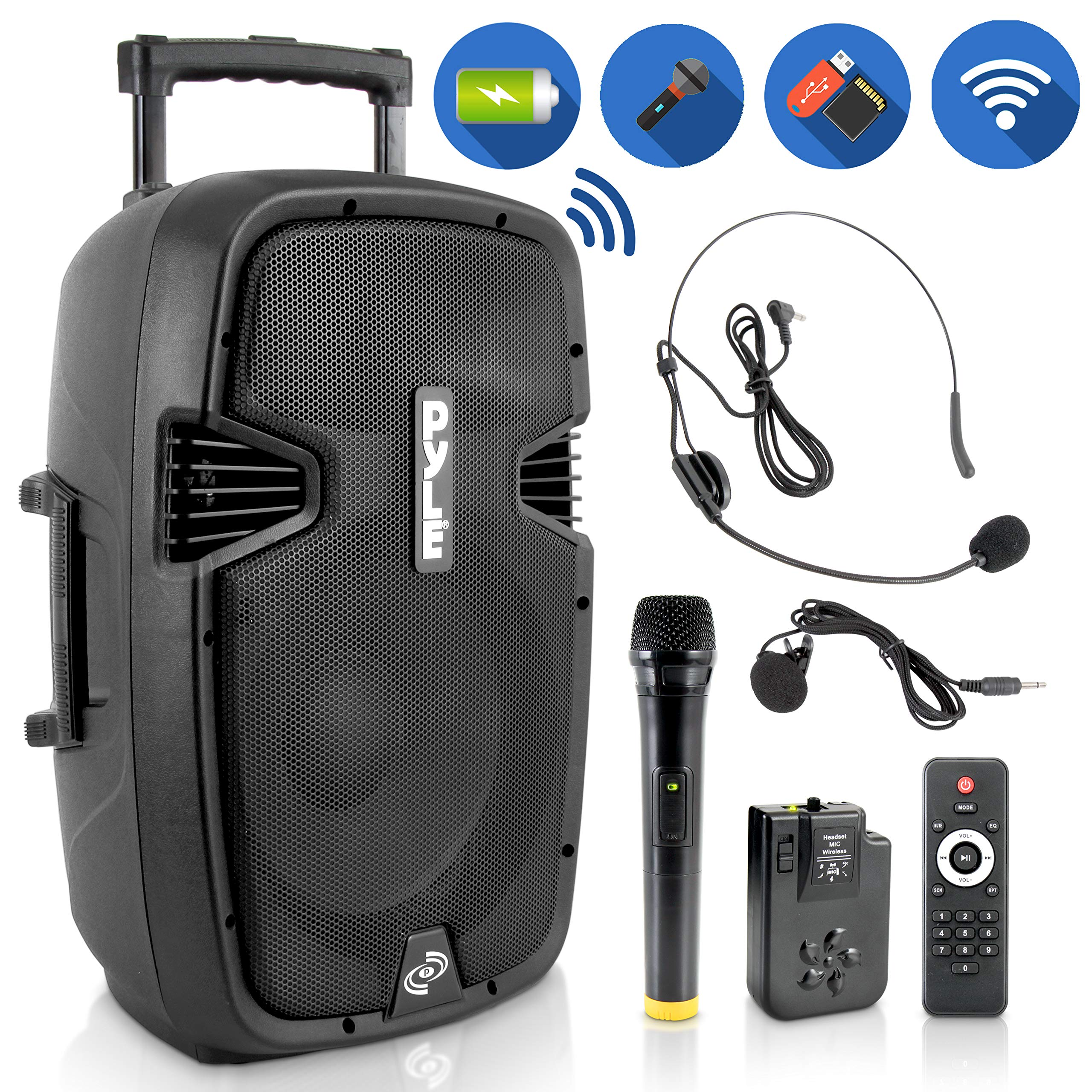 Wireless Portable PA Speaker System - Compatible with Bluetooth, Active Loudspeaker, 1000 Watt Powered 2-Way Waterproof Amplifier, 12'' Subwoofer, Tweeter, RCA, XLR, Mic In for Dj & Party - PPHP1241WMU
