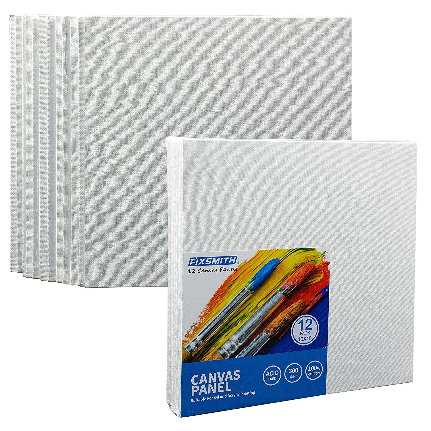 FIXSMITH Painting Canvas Panels - 6x6 inch Professional Quality Canvas Boards,Super Value 12 Pack,100% Cotton,Primed,Acid Free,for Professional Artists, Hobby Painters, Students & Kids.FM06270606 Automan Pro
