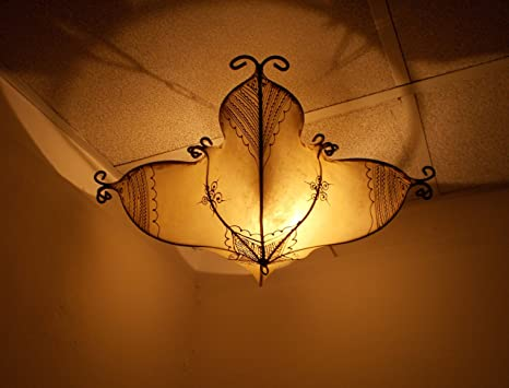 Plafoniere Con Lampadina A Vista : Lampadario etnico marocchino plafoniera lampada lanterna pelle