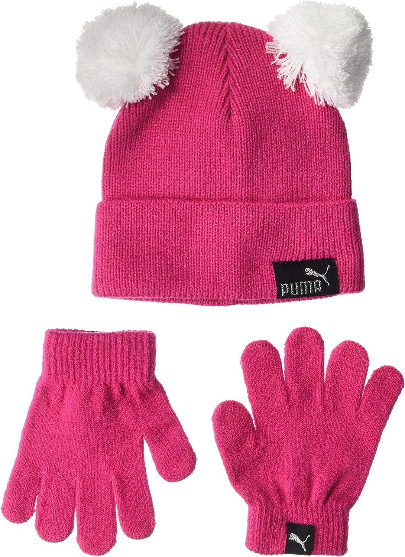 PUMA unisex child Evercat Youth and Glove Set Beanie Hat, Pink/Black, Toddler Size US: Clothing