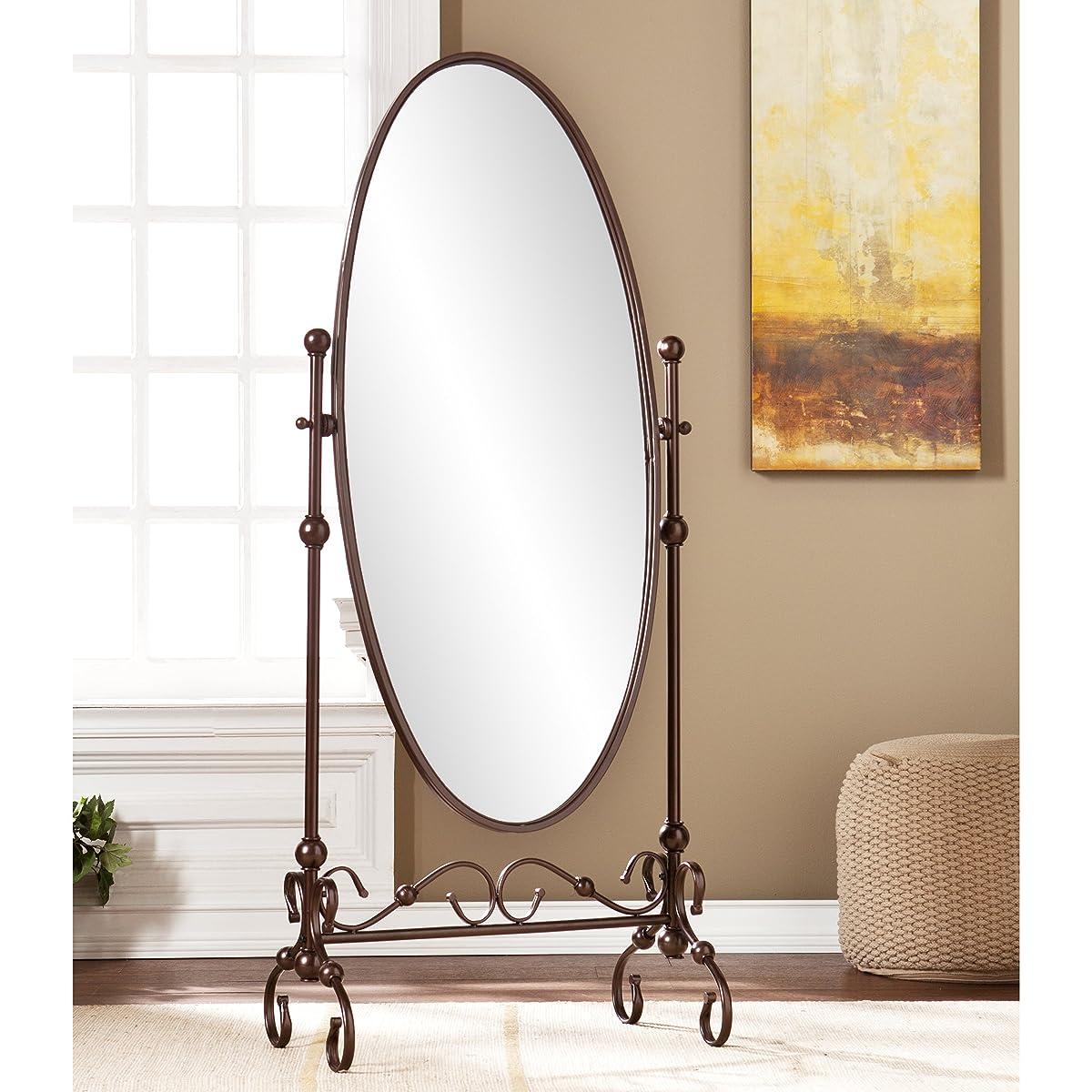 "Southern Enterprises Lourdes Cheval Oval Free Standing Mirror 56"", Antique Bronze Finish"