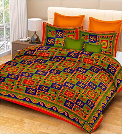 RajasthaniKart Classic 144 TC Cotton Double Bedsheet with 2 Pillow Covers - Abstract, Red