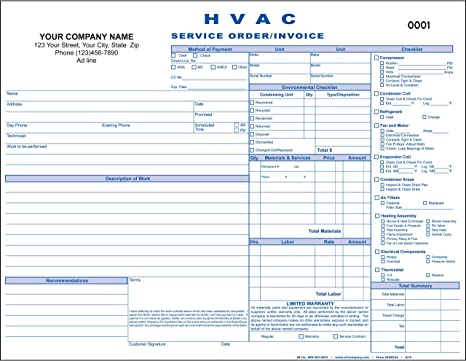 3 Copy HVAC Service Order//Invoice 100 Forms - Personalized for Free 8.5x11 Triplicate