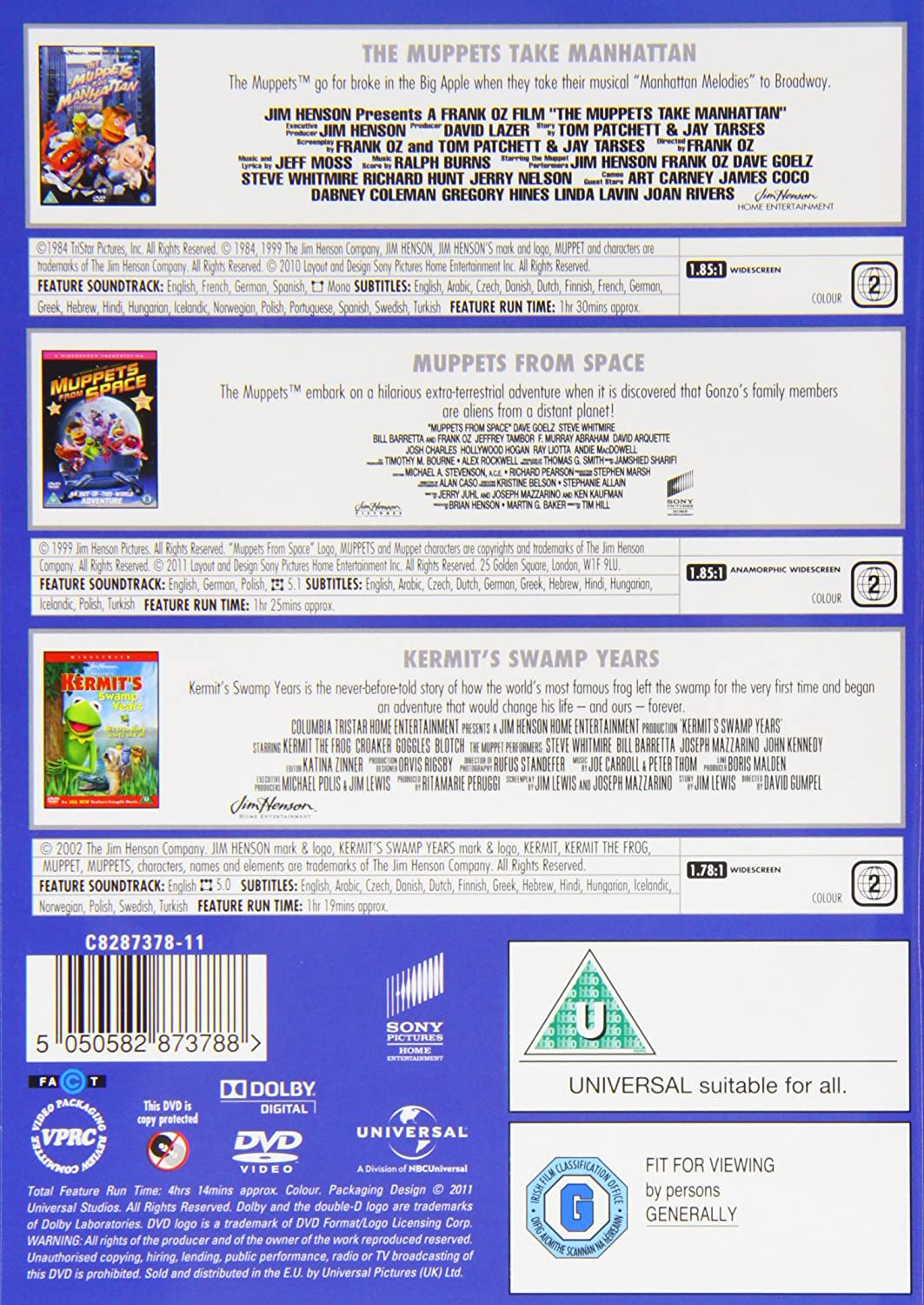 3 Film Box Set: Muppets Take Manhattan / Muppets From Space ...