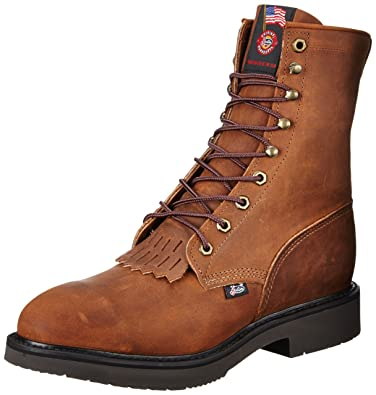 Amazon.com | Justin Mens Bark Leather Work Boots Lace-Up Steel Toe ...