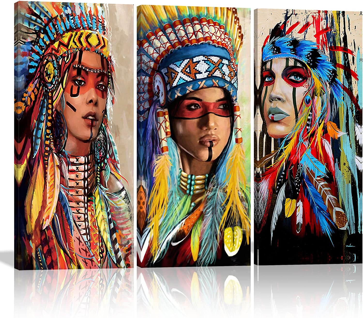 Native American Indian Girl Wall Art Canvas Painting Women Chief with Colorful Feathers Ethnologic Accessories Modern Poster Picture Verical Artwork