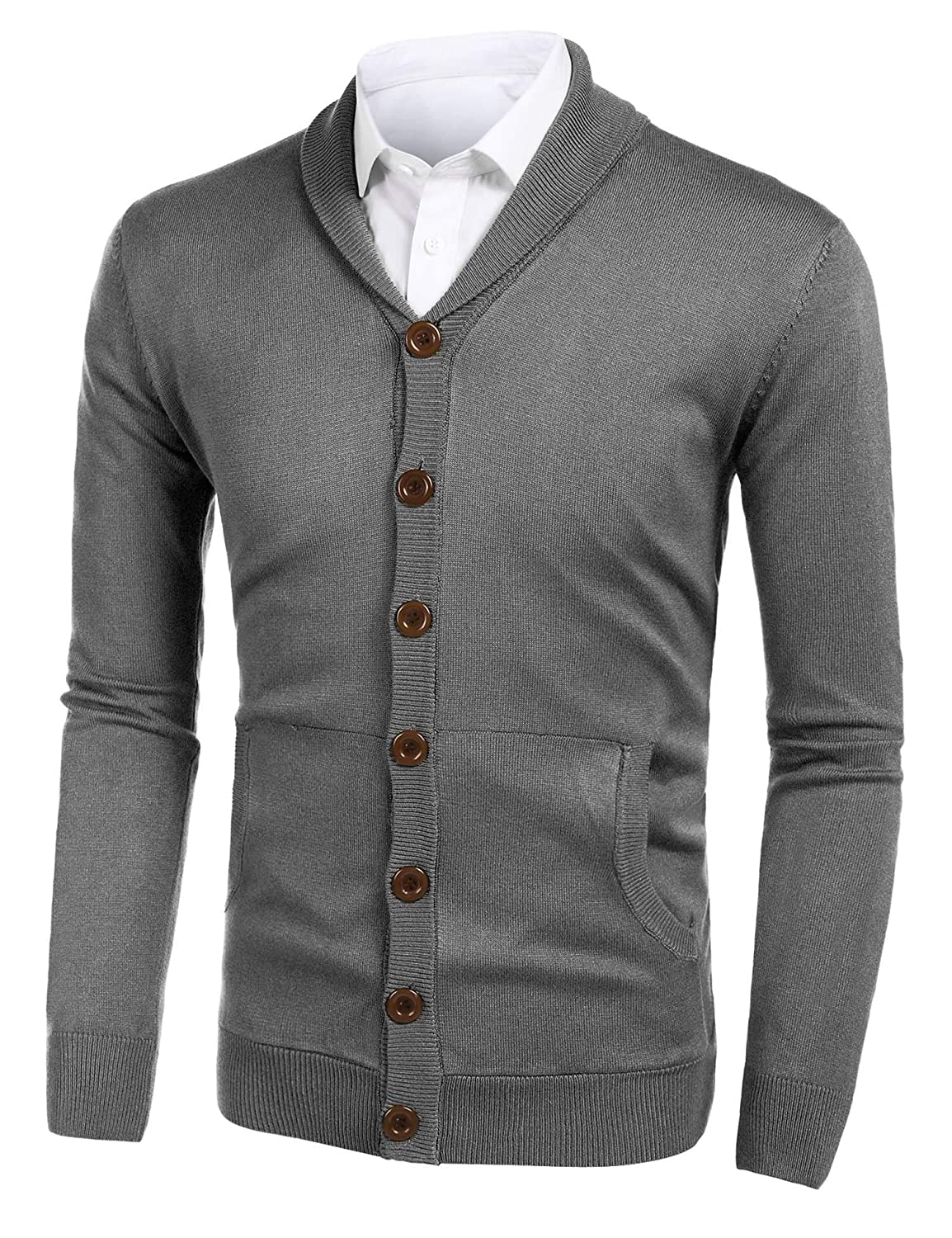 Misakia Mens Pocket Cardigan Knitwear Long Sleeve Shawl Collar Elbow Patch Slim Fit Button Sweater