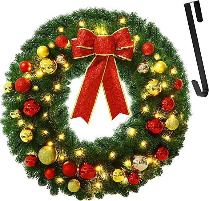 Amazon.com: Juegoal 24 Inch Pre-Lit Christmas Wreath with Metal Hanger, Large Red Bow and Colored Balls, Battery Operated with Timer Warm White 60 LEDs Lights, Front Door Spruce Lighted Wreath X-max Decorations: Home & Kitchen