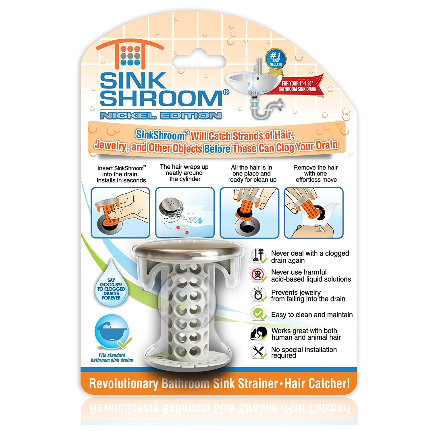 SinkShroom Nickel Edition Revolutionary Bathroom Sink Drain Protector Hair Catcher, Strainer, Snare