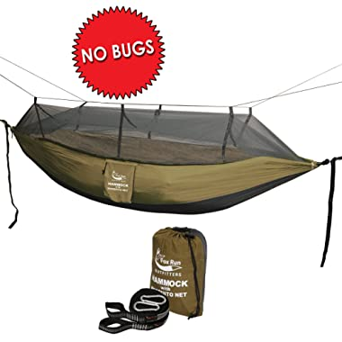 Fox Run Hammock with Mosquito Net - SLEEP BUG FREE - INCLUDES TWO 10 ft. HANGING STRAPS – Great for Camping, Hiking, Backpacking, Backyard, Indoor, Beach - by Outfitters - (Charcoal/Khaki)