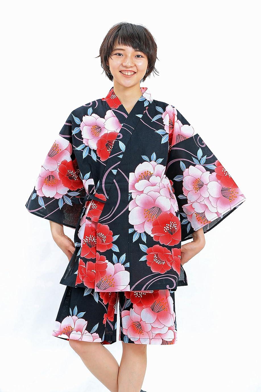 テスピアンミサイルレルム(オオキニ)大喜賑 作務衣 女性 くつろぎのひととき 木綿 無地 婦人用 5色 S~LL