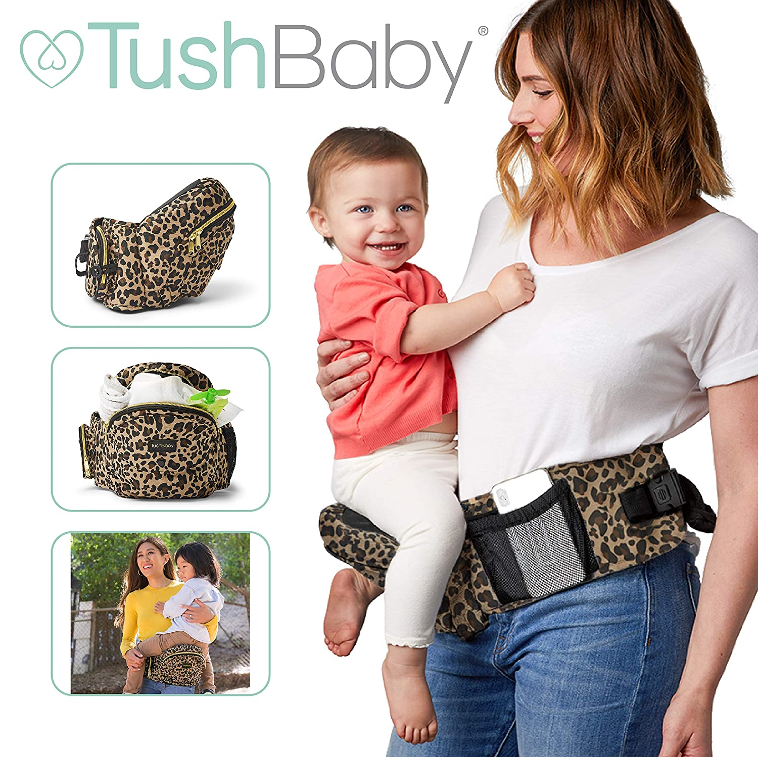 Black and Gold TushBaby The Only Safety Certified Hip Seat Baby Carrier As Seen On Shark Tank Ergonomic Waist Carrier for Newborns Toddlers /& Children