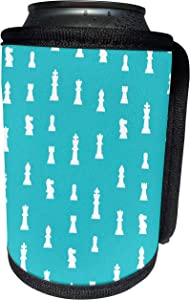 3dRose InspirationzStore patterns - Chess piece pattern on aqua blue - turquoise teal with white game pieces for chess players - masters - Can Cooler Bottle Wrap (cc_120266_1)