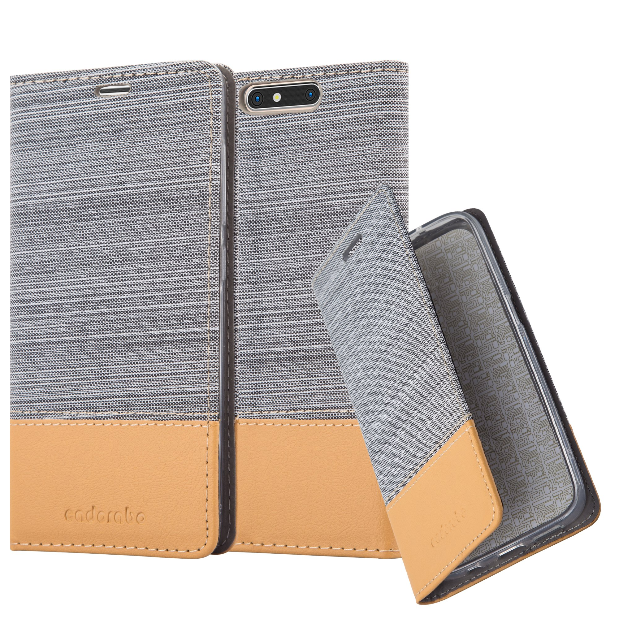 Cadorabo Case works with ZTE BLADE V8 Book Case in LIGHT GREY BROWN (Design FABRIC-FAUXLEATHER) – with Magnetic Closure, Stand Function and Card Slot – Wallet Case Etui Cover PU Leather