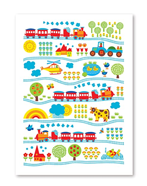 ByGraziela Kinderzimmer Poster: Eisenbahn Poster 50x70cm