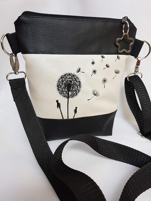 Kleine Handtasche Pusteblume Umh/ängetasche Schultertasche Tasche mit Anh/änger handmade Kunstleder weiss