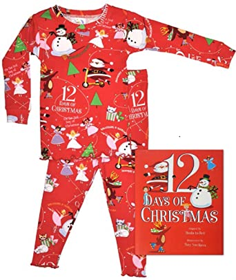 books to bed 12 days of christmas girls long sleeve pajamas and book set 2t