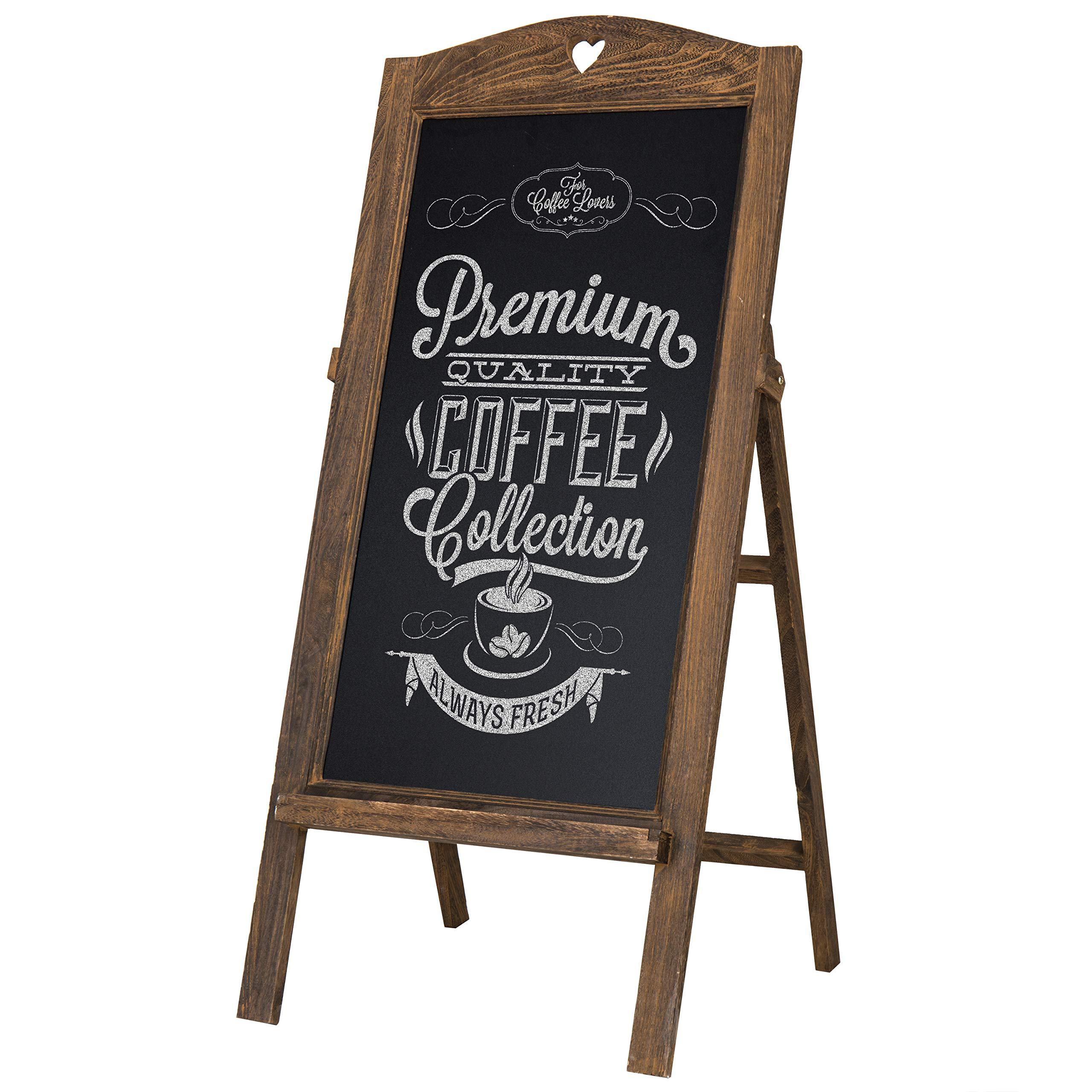 MyGift 26-Inch Freestanding Chalkboard with Vintage Brown Wood Frame