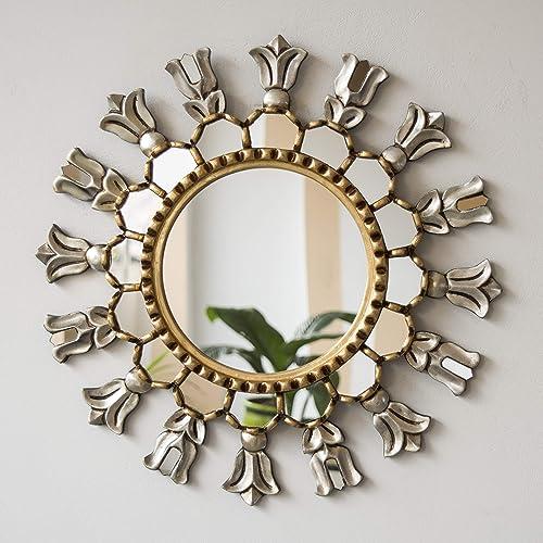 Amazon Com Silver Gold Round Wall Mirror 17 7 Hand Carved Accent Mirrors Wall Decor Peruvian Sun Sunburst Mirror Wall Art Peruvian Wall Mirrors Handmade