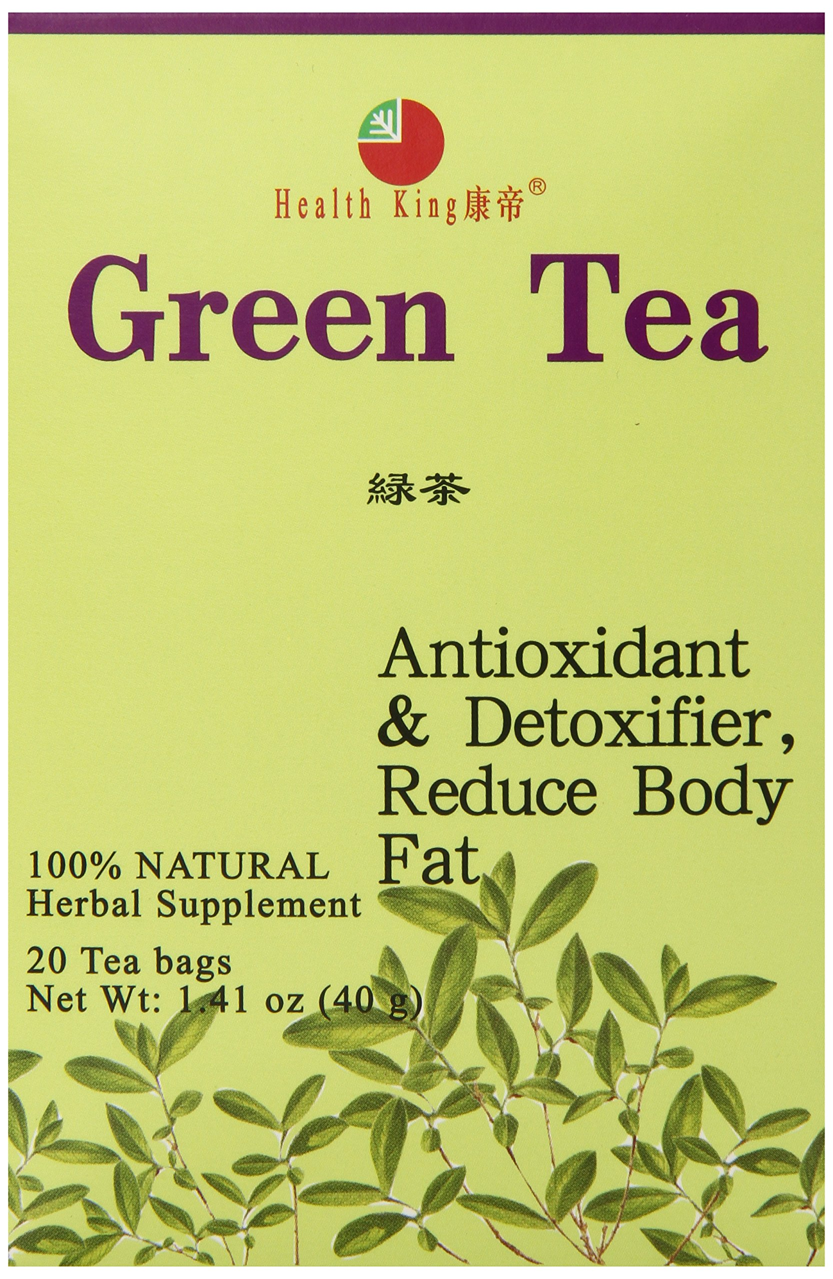 Health King  Green Tea, Teabags, 20-Count Box (Pack of 6)